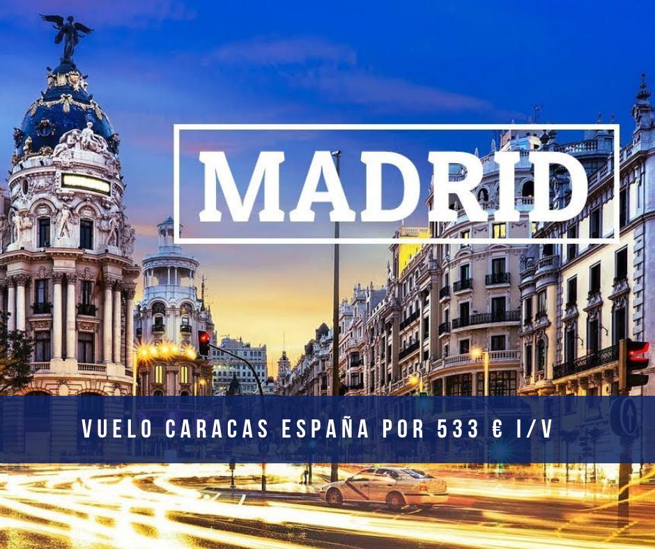 Vuelo Caracas España por 533 euros i/v con Tap