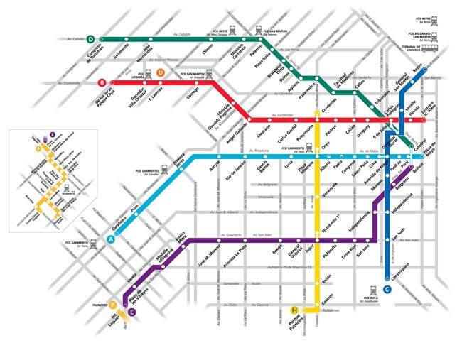 Mapa das linhas de metrô.