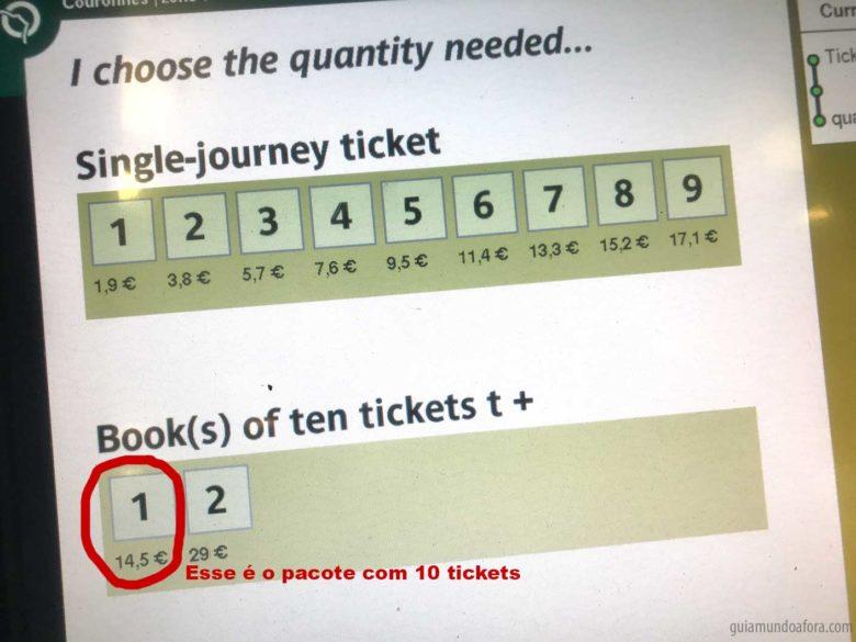 tickets de metrô em Paris