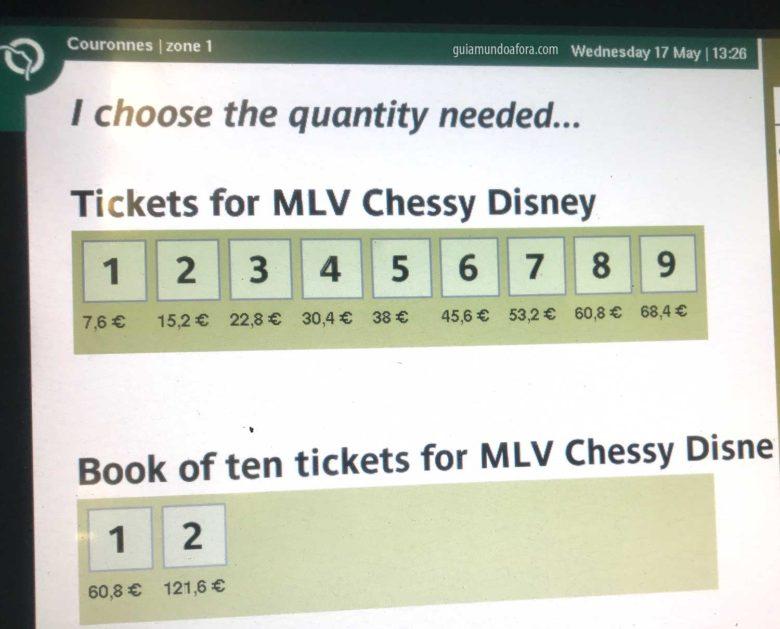tickets para chegar na Disneyland Paris