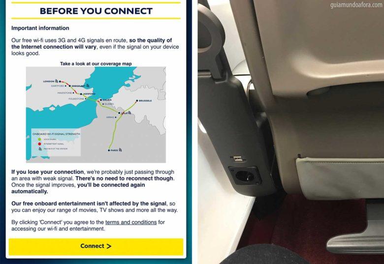 Wifi e carregador no tem Eurostar