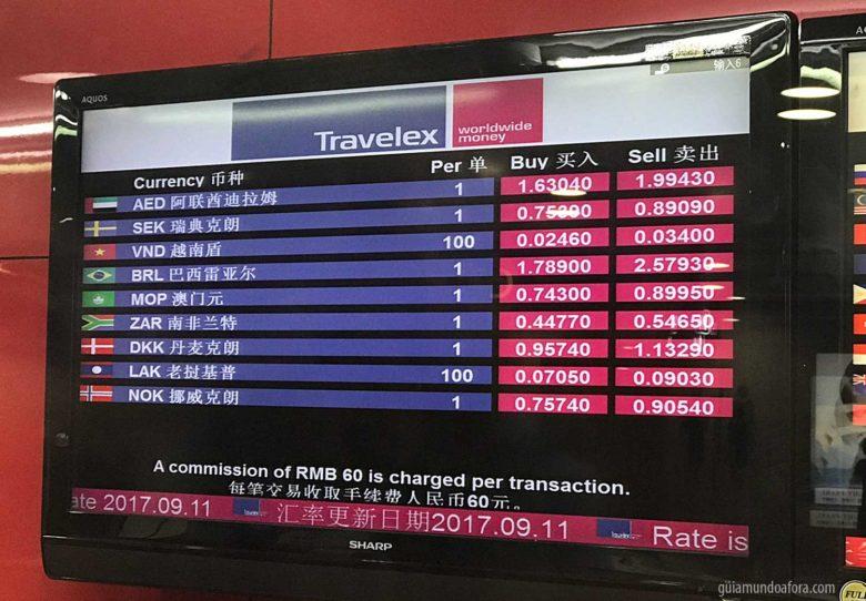 câmbio na China aeroporto