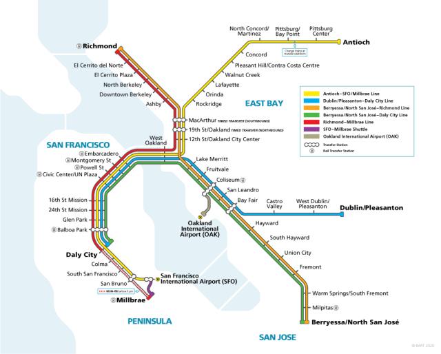 El BART es un buen medio para recorrer trayectos entre el aeropueto, San Francisco, Oakland y San José.
