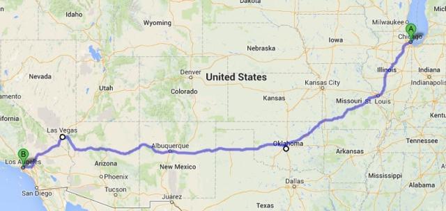 Mapa de la Ruta 66. de Chicago a Los Angeles.