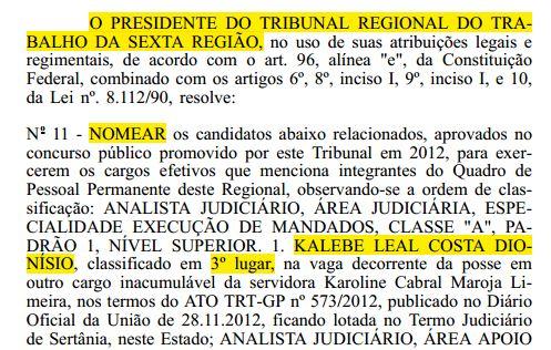 Nomeação Kalebe Dionísio Diário Oficial da União