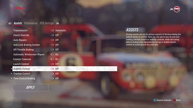 While using the steering wheel, you should turn off most of the assists immediately - Driving basics, tips and controls in DiRT Rally 2.0 - Basics - DiRT Rally 2.0 Guide