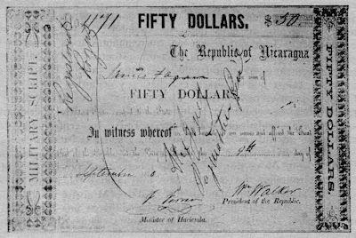 Bonos que emitió William Walker para financiar su empresa bélica