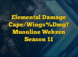 Elemental Damage Cape/Wings%Dmg? Muonline Webzen Season 11