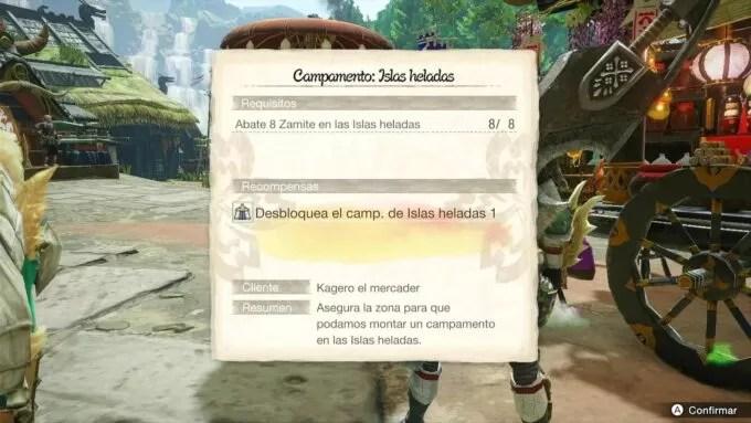 Campamento Islas Heladas 1 - Abate 8 Zamites en Monster Hunter Rise