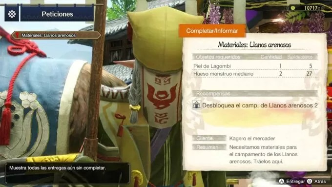 Campamento Llanos Arenosos 2 – Materiales para la petición en Monster Hunter Rise