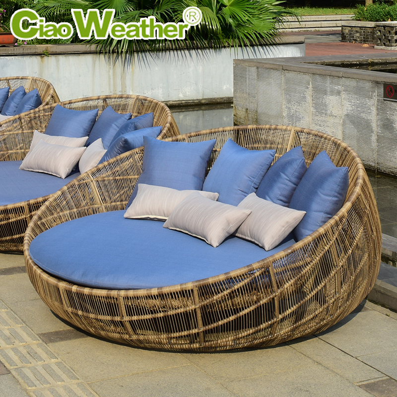 China Outdoor Rattan Recliner  China Outdoor Rattan Recliner     Get Quotations      Large circular bed outdoor leisure terrace patio garden  outdoor lying bed pool round indoor rattan bed
