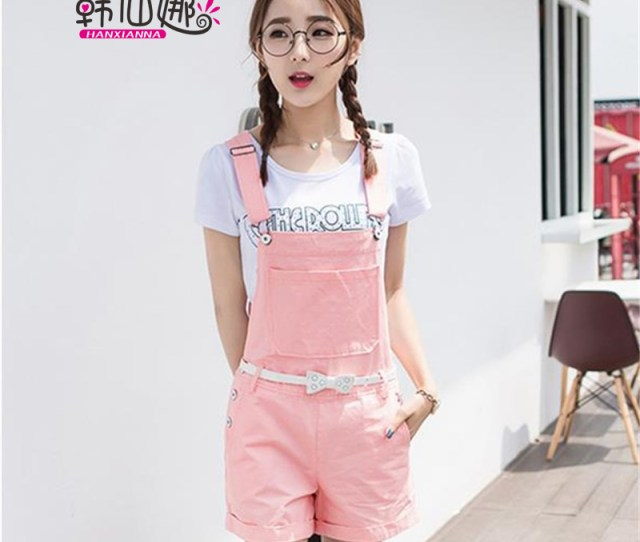Get Quotations  C2 B7 Sweet Teen Summer Pink Strap Pants Overalls Shorts Female Small Fresh High School Students Casual Piece