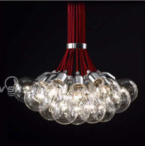 Get Quotations Poly Yet Simple And Modern Red String Glass Bubble Chandelier Ball Lamp Creative Living Room