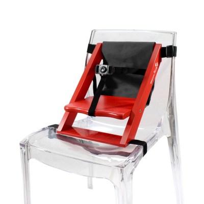 Rehausseur de chaise enfant en bois rouge et tissu noir