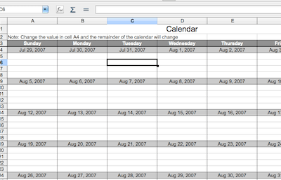 Calc: Calendar Template (Basic) — Guide 2 Office