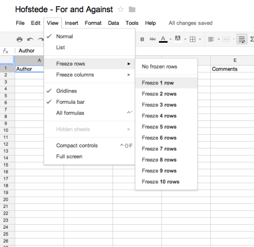freeze panes in google sheets