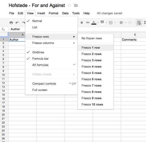 Freezing or Unfreezing Rows in Google Docs Spreadsheets