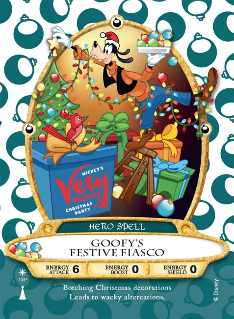 Goofy's Festive Fiasco Card - Sorcerers of the Magic Kingdom at Disney World