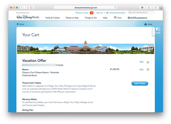 Pricing out a Disney Vacation for a Unique offer Code