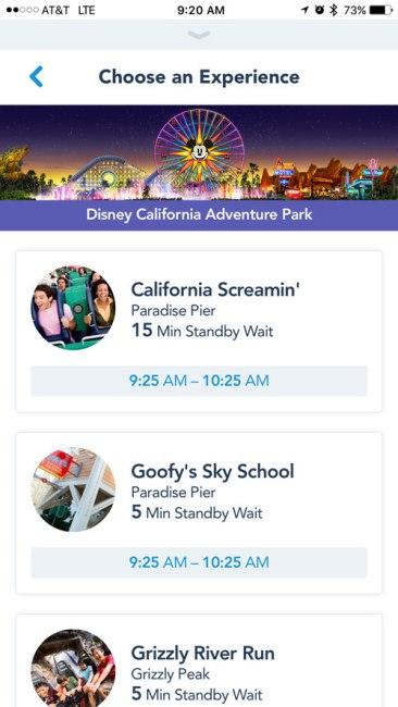 MaxPass Attraction Selection - Disneyland