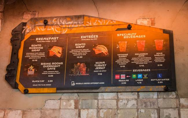 Ronto Roasters Menu - Star Wars Galaxy's Edge- Disneyland Dining- Guide2WDW