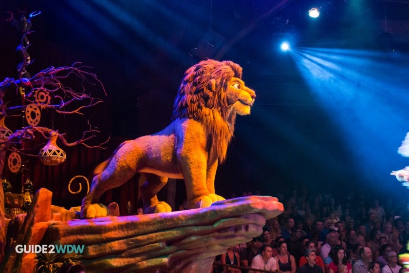 Simba on Pride Rock in the Festival of the Lion King show at Animal Kingdom