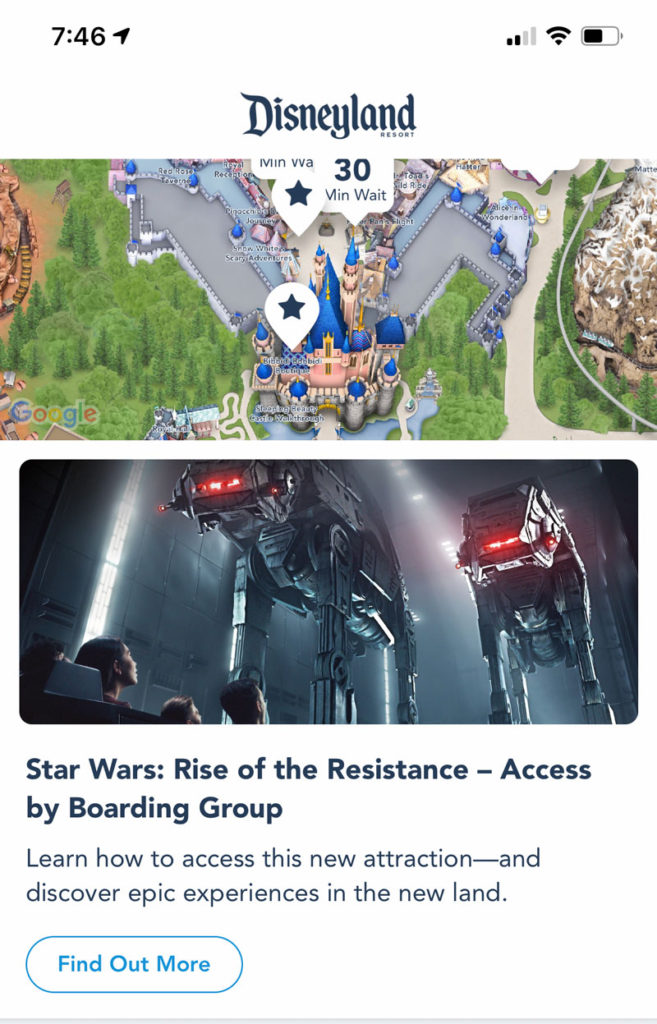 Disneyland App Main Page - Rise of the Resistance Guide