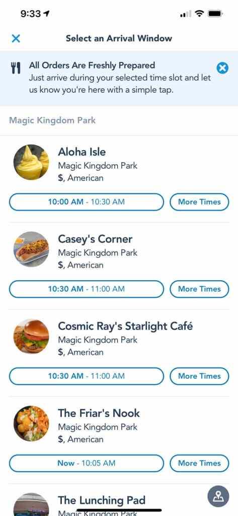 Disney World Mobile Order App