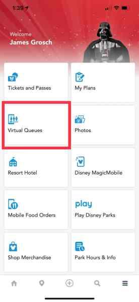 Disney World Virtual Queue App