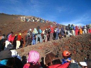 Embouteillage ascesnsion du Mont Fuji