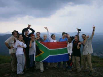 "The team from St. Mary's DSG Pretoria showing SA ""gees"" on the trek"