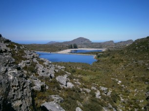 The view across the resevoirs on Table Mountain