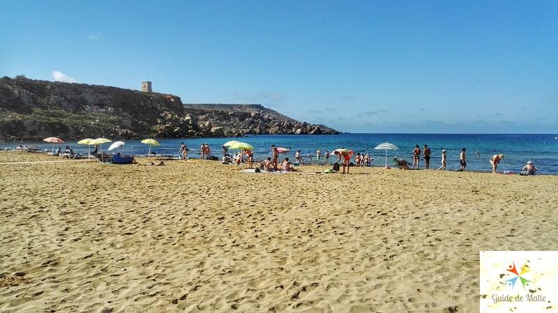 golden bay plage sable malte
