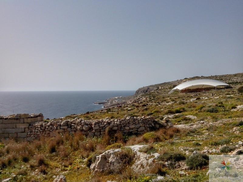 Temples Hagar Qim et Mnajdra vue mer malte