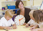 Guided Math meets the needs of students in small group settings like with Telling Time.