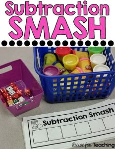 Preschool and Kindergarten Guided Math Subtraction Activities called Subtraction Smash