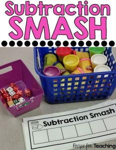 Preschool and Kindergarten Guided Math Subtraction Activities called Subtraction Smash