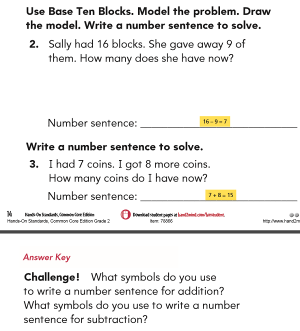 Here is a sample guided math lesson on writing number sentences problems and challenges