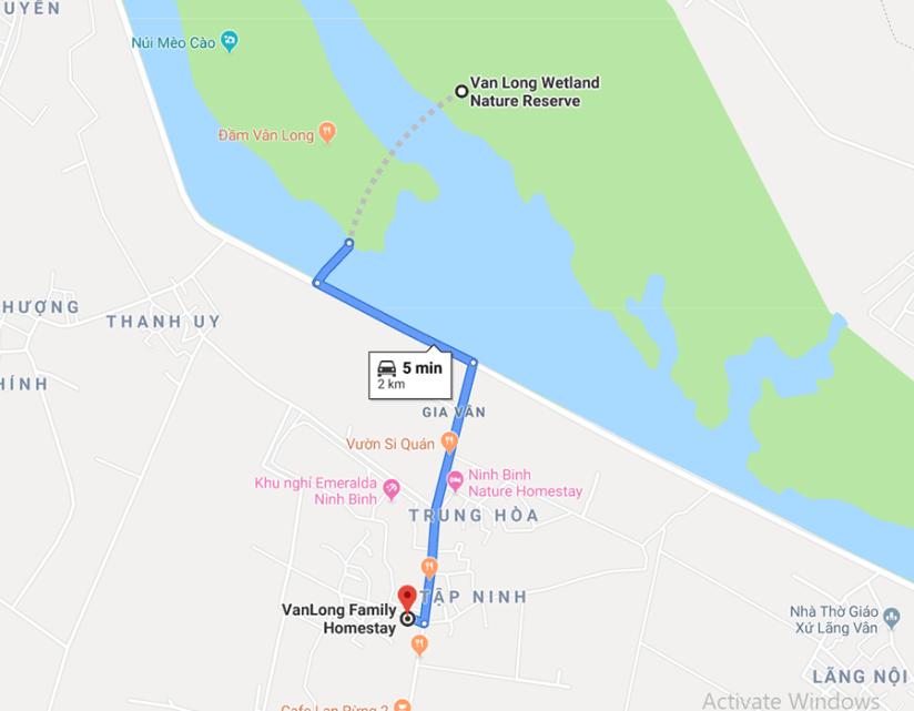 van long homestay map