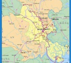 Carte des circuits sur la rivière Saigon.