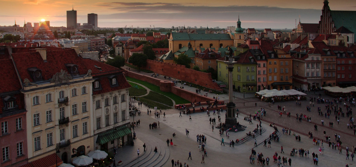 A view over the Royal Castle Square from the tower of St. Anne's Church is truly enchanting.