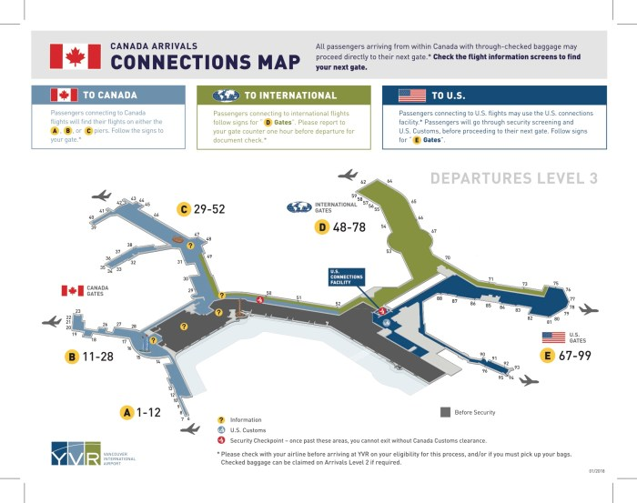 Canada arrivals Vancouver airport Connections Map