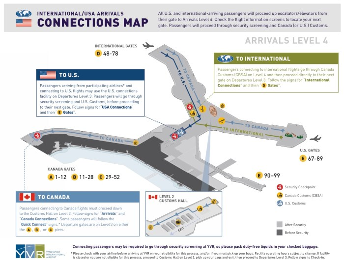Vancouver airport US/Intl Arrivals Connections Map