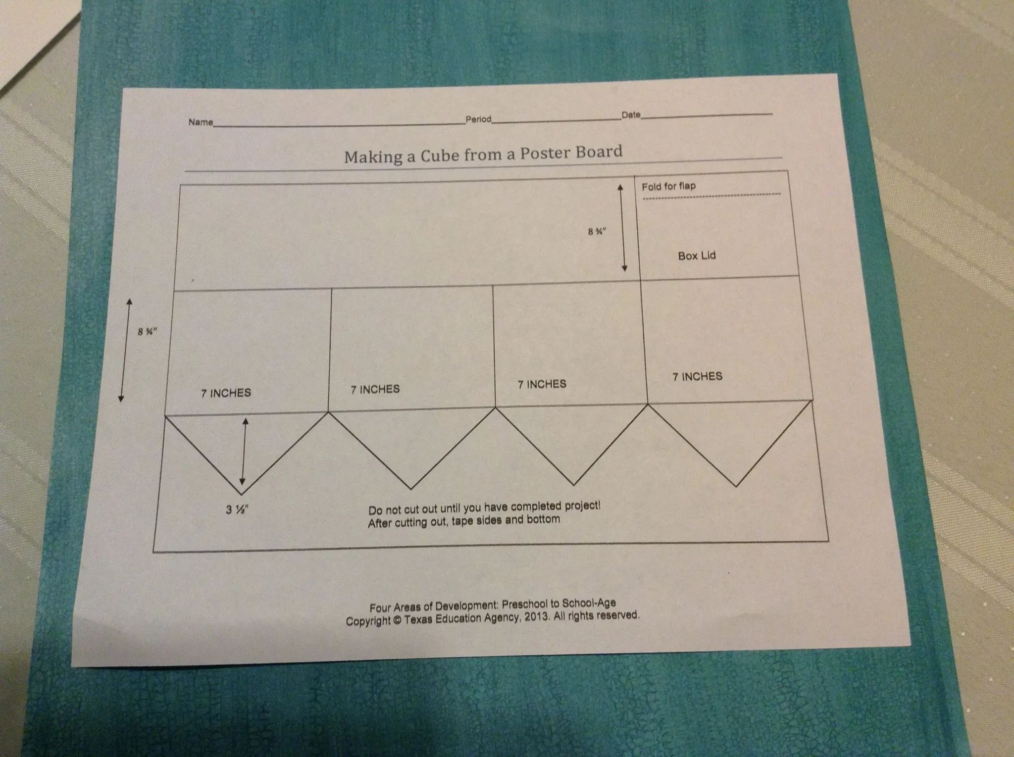how to make a cube from poster board