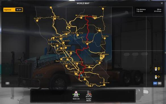 Map and legend   Game world   American Truck Simulator Game Guide     The widest map allows you for checking which cities have you explored   Map  and legend