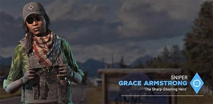 Grace Armstrong is the third specialist in the game - Specialists in Far Cry 5 (Companions) - Guidebook - Far Cry 5 Game Guide