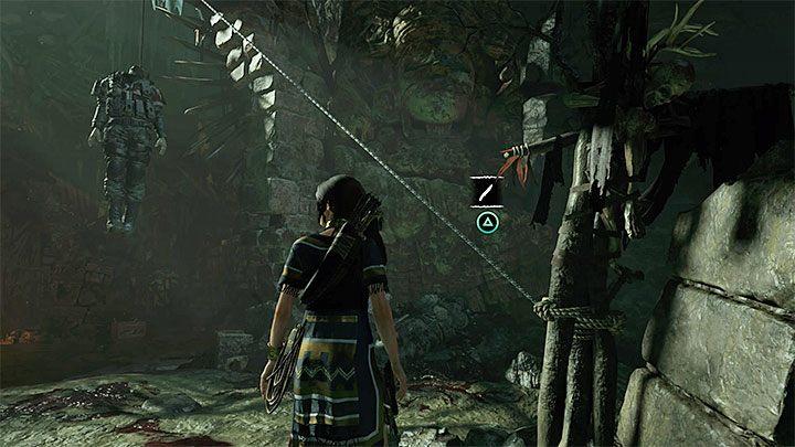 После того, как вы достигнете окрестности трупа (рис. 1), подходите к веревке, на которой она висит - Как получить дробовик в Shadow of the Tomb Raider Game?  - FAQ - Тень игры с гробницей