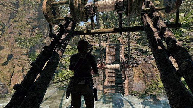 Направьте лук на катушку веревки, показанную на рисунке 1 - Как решить загадку моста в Shadow of the Tomb Raider Game? - Рединг загадок - Тень игры в гробницу
