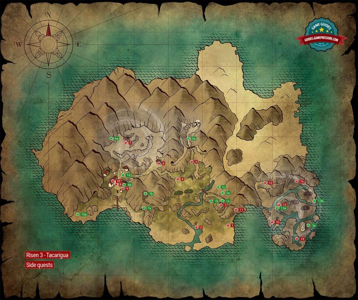 Map   Side Quests   Tacarigua   Risen 3  Titan Lords Game Guide     Enlarge this map