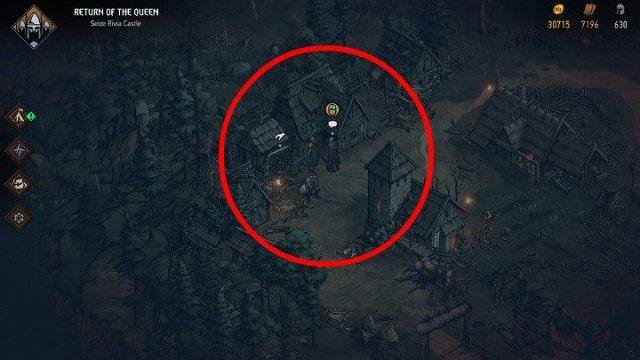 Чтобы все было проще, снимок экрана показывает местоположение соответствующего NPC - Скрытые сокровища сундуков в Ривии |  Thronebreaker The Witcher Tales - Карты скрытых сокровищ - Тронно-разбойник The Witcher Tales Guide